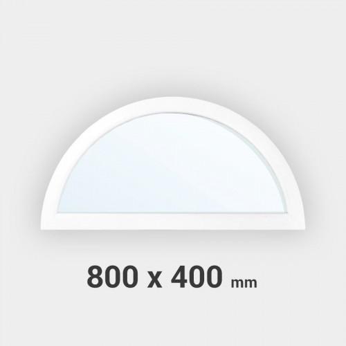 Fenêtre demi-lune fixe PVC tableau 800x400 mm