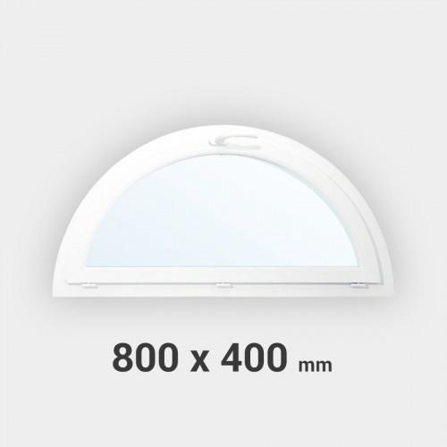 Fenêtre demi-lune à soufflet PVC 400x800 mm