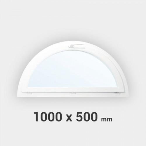 Fenêtre demi-lune à soufflet PVC tableau 500x1000 mm