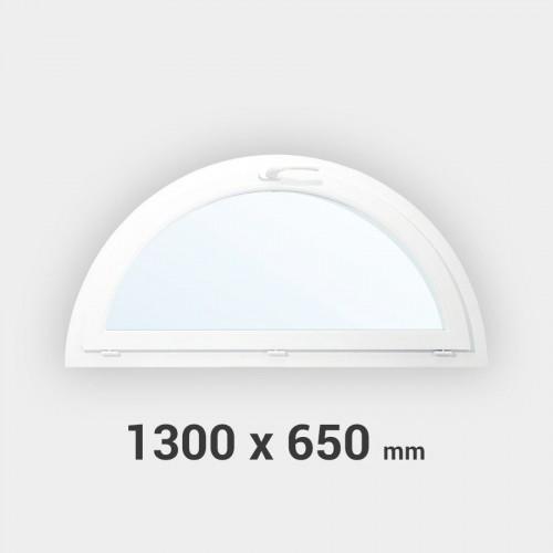 Fenêtre demi-lune à soufflet PVC tableau 650x1300 mm