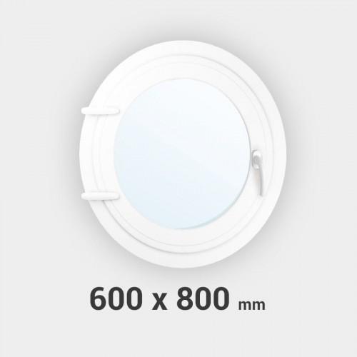 Oeil de boeuf ovale 1 ouvrant PVC tableau 800x600 mm