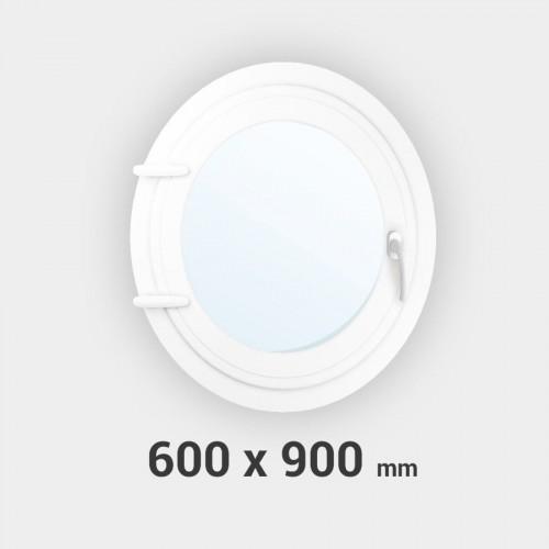 Oeil de boeuf ovale 1 ouvrant PVC tableau 900x600 mm