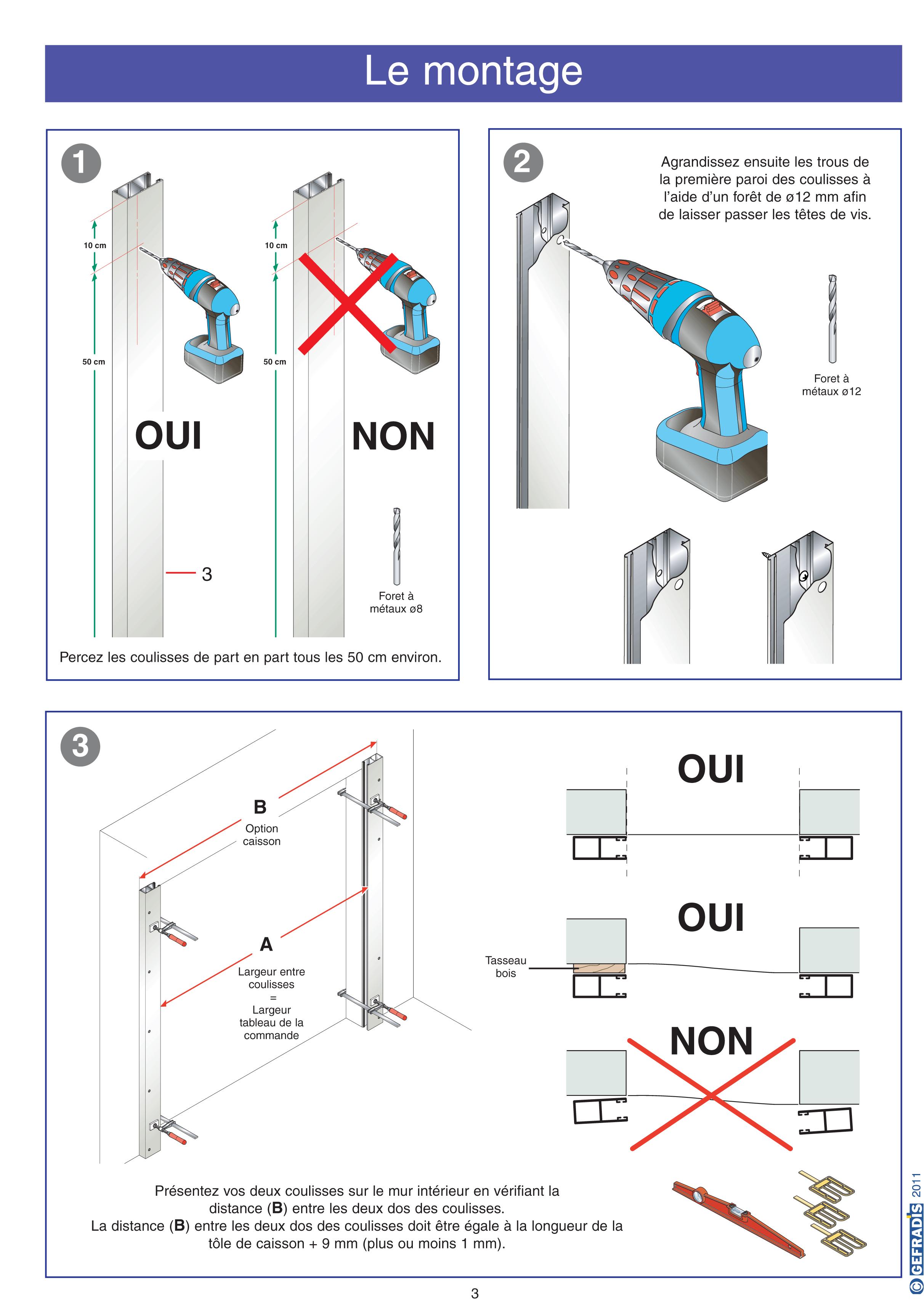 Notice d'aide à la pose de porte de garage enroulable motorisée avec coffre