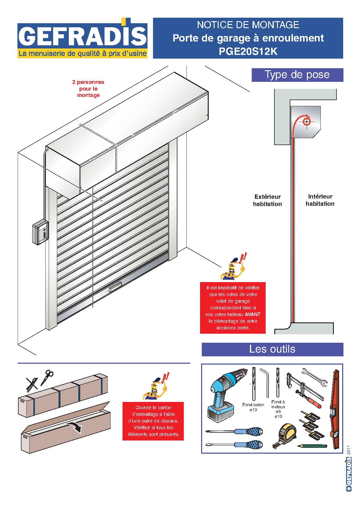 Notice d'aide à la pose de porte de garage motorisée enroulable avec coffre