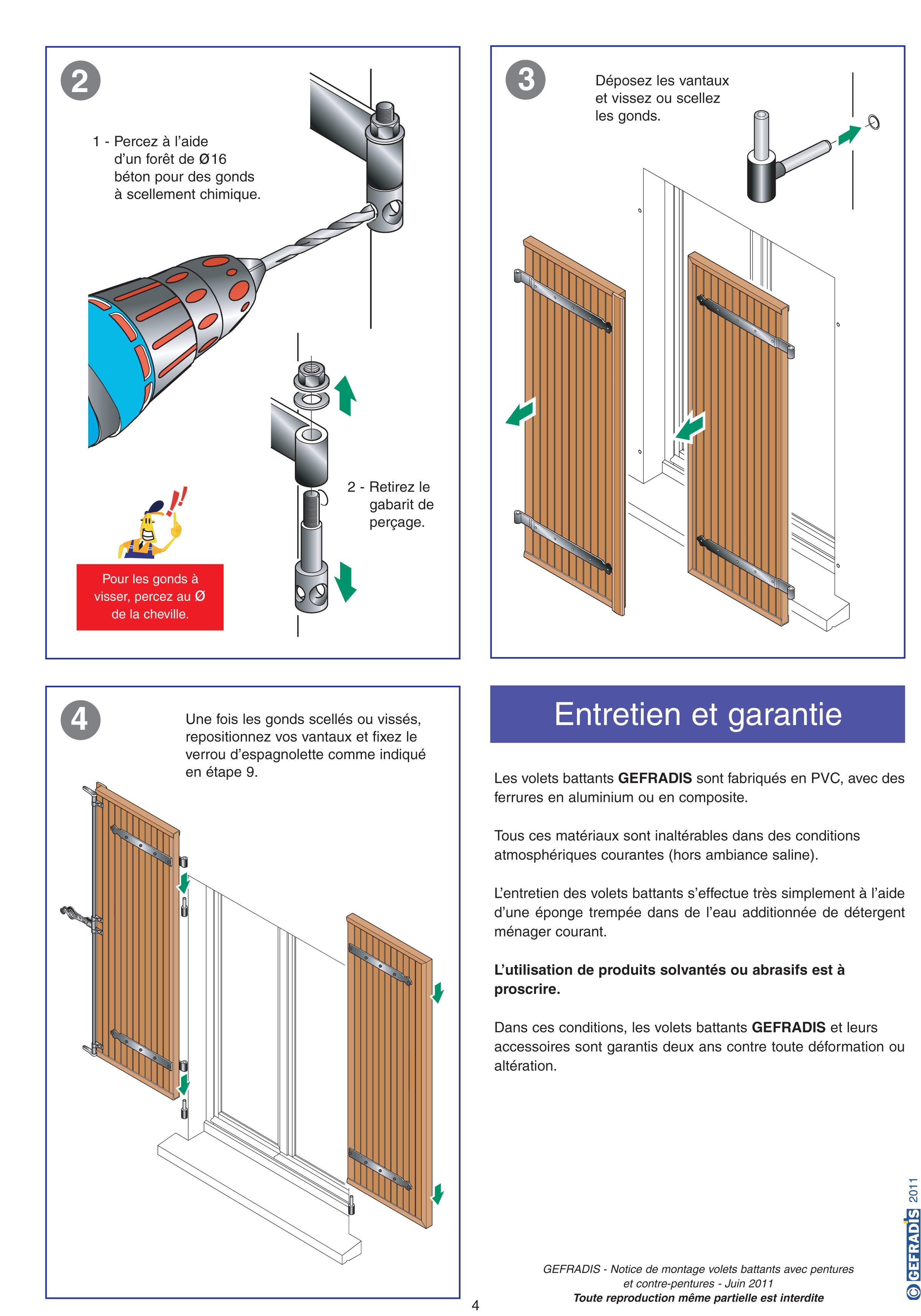 Notice d'aide à la pose de volet battant