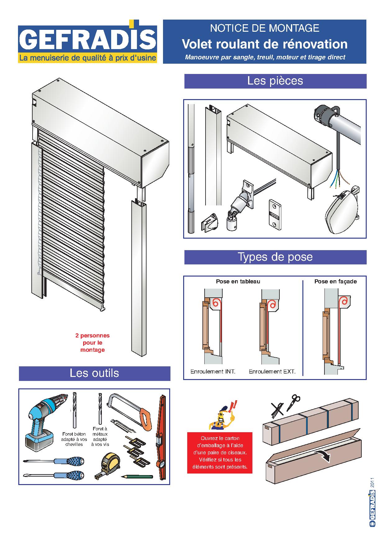 Notice d'aide à la pose de volet roulant rénovation page 1