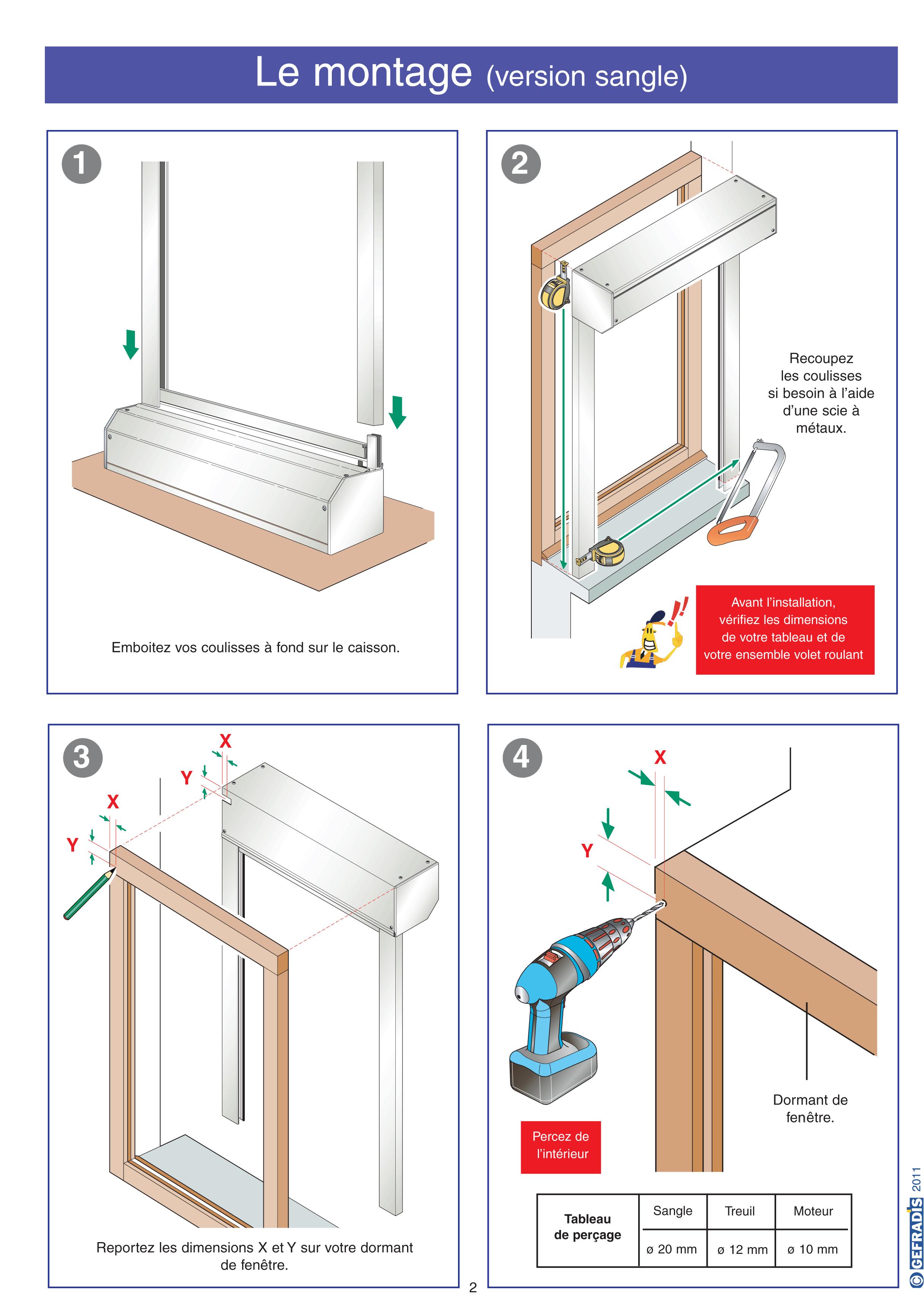 Une page de notre notice d'aide à la pose de volet roulant rénovation (à coffre extérieur)