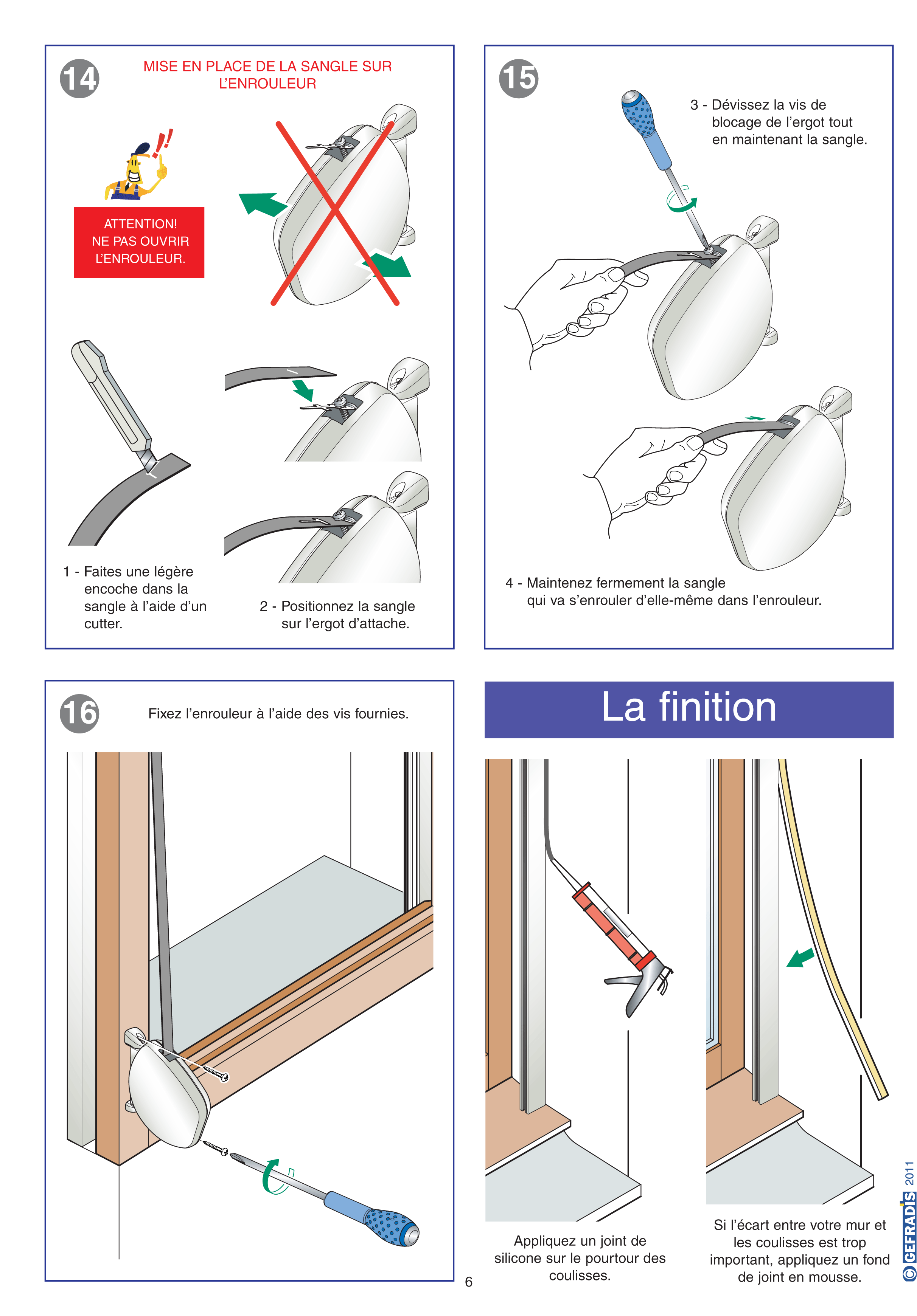 Notice d'aide à la pose de volet roulant traditionnel Gefradis