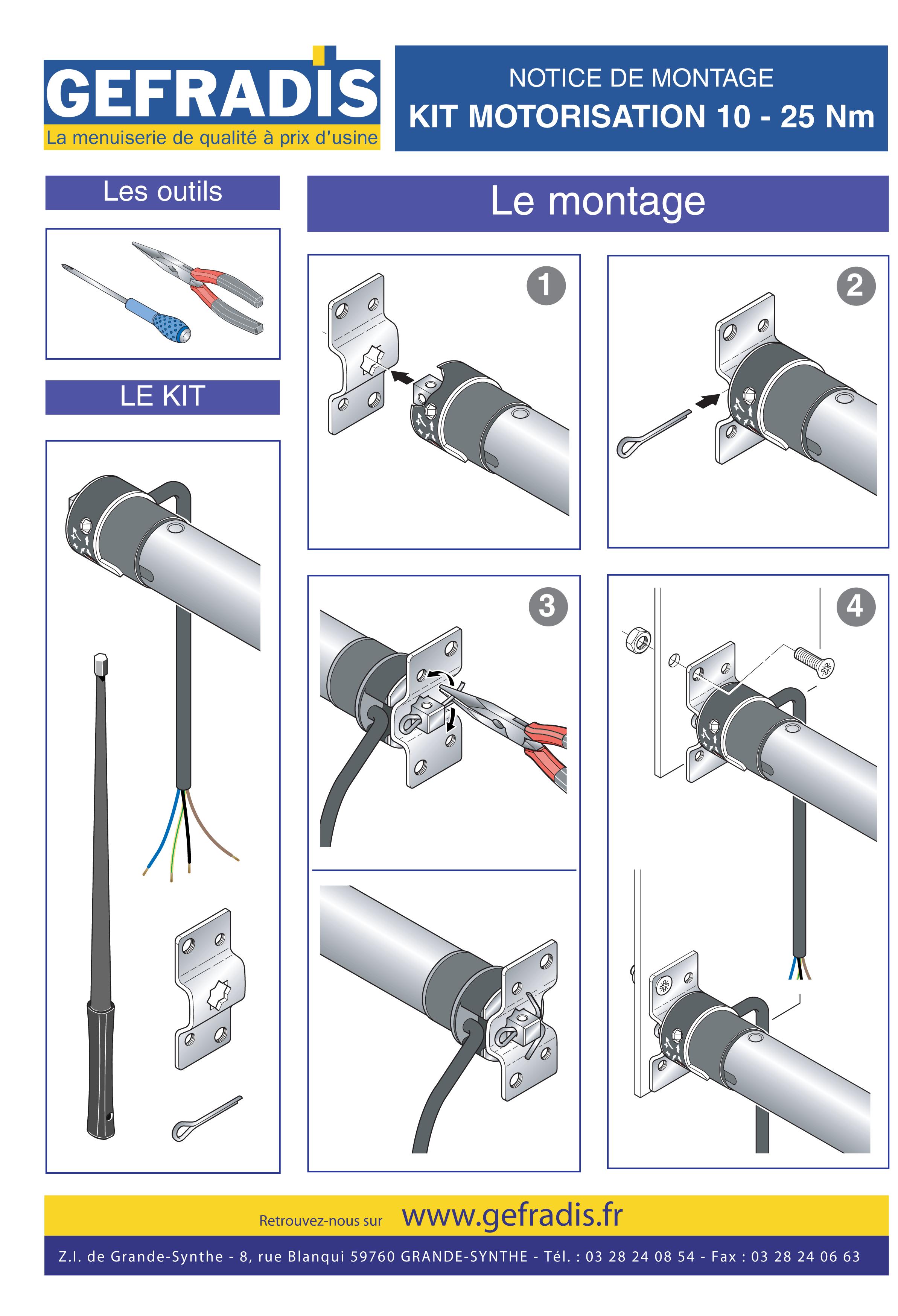 Première page de la notice d'aide à la pose du kit de motorisation