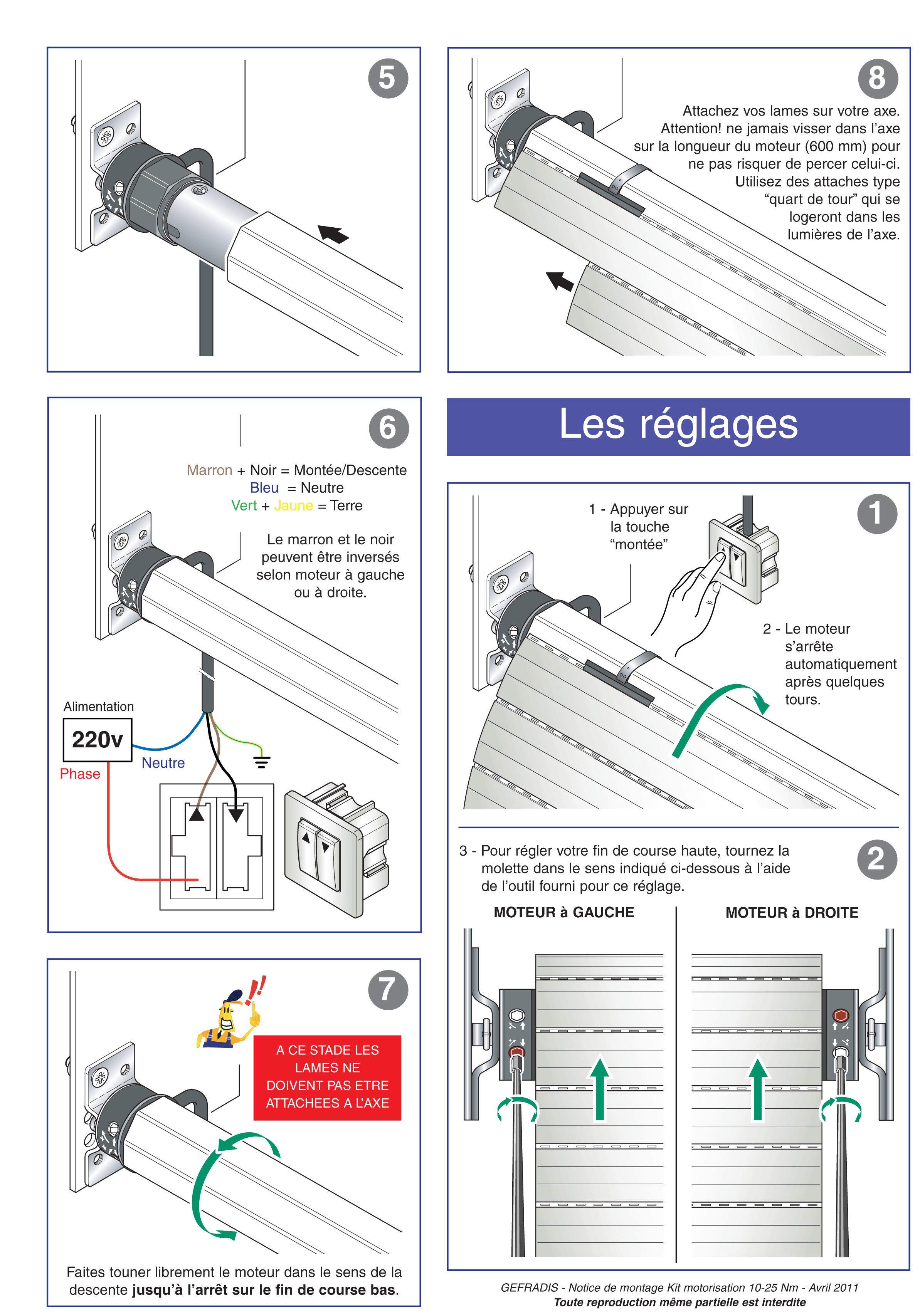 Notice de pose de moteur et kit de motorisation pour volet roulant