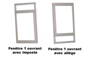 Exemple de fenêtres 1 ouvrant avec imposte ou allège